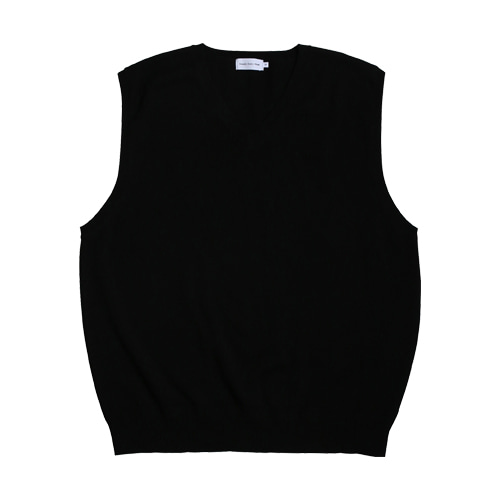 Cotton V-neck Vest (Black)