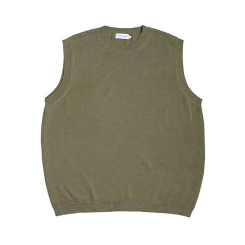 Cotton Round Neck Knit Vest (Olive Khaki)
