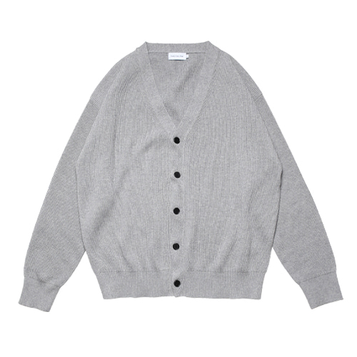 Relaxed Cotton Rib Cardigan (Smoke Grey)