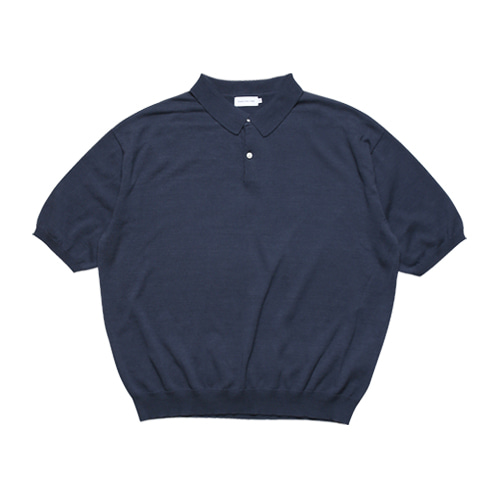Half Sleeved Collar Knit (Navy)