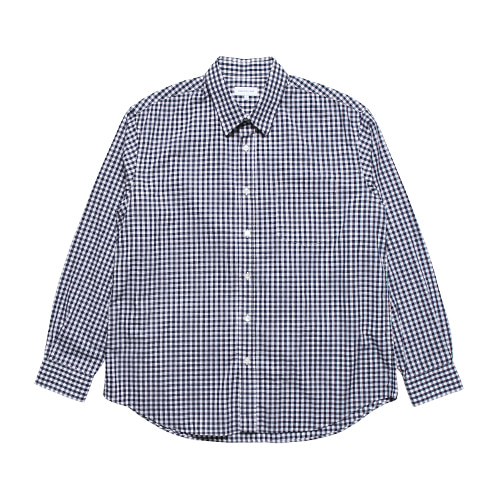 Relaxed Gingham Check Shirts (Dark Navy)