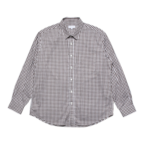Relaxed Gingham Check Shirts (Brown)