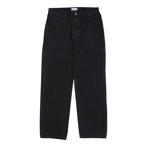 Regular Straight 5P Denim Pants (Black)