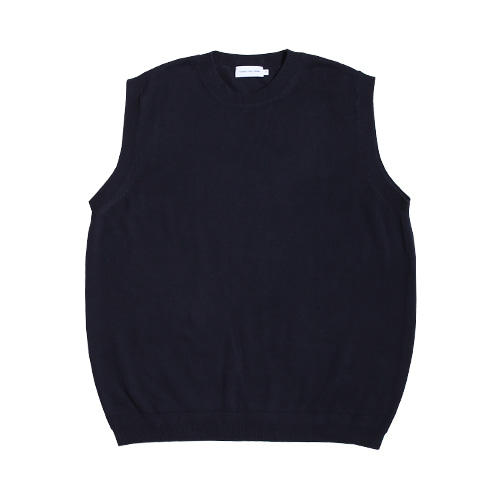 Cotton Round Neck Knit Vest (Dark Navy)