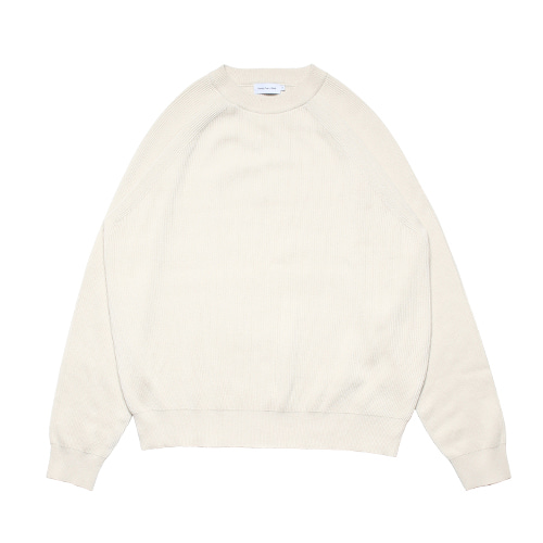 Raglan Cotton Rib Knit (Cream)