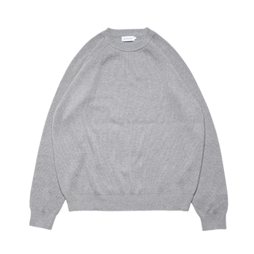 Raglan Cotton Rib Knit (Smoke Grey)