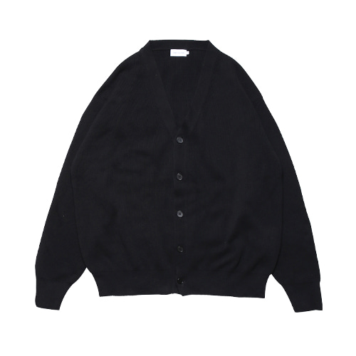 Relaxed Cotton Rib Cardigan (Black)